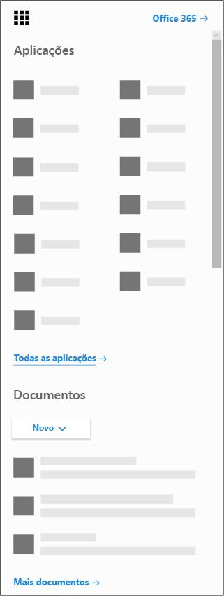 O iniciador de aplicações do Office 365