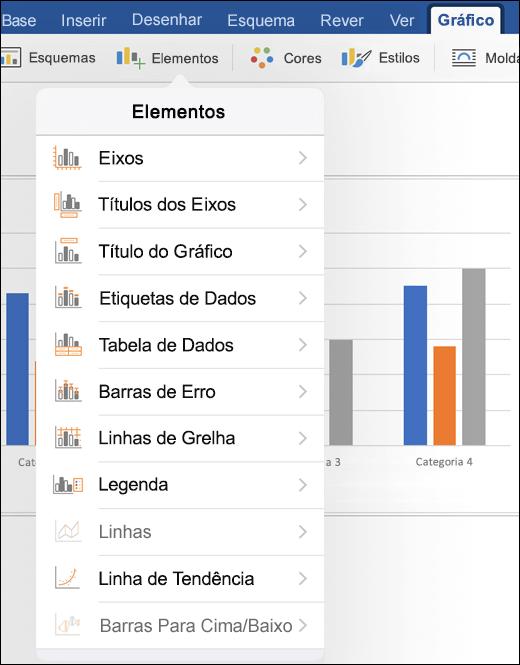 Clique em elementos no separador gráfico do friso para personalizar elementos do gráfico no seu documento
