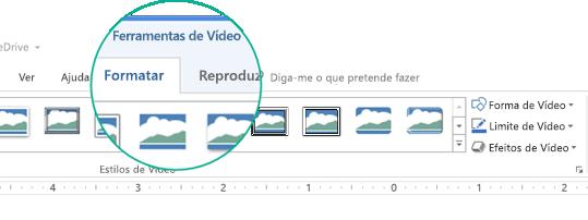 """Quando um vídeo estiver selecionado num diapositivo, a secção """"Ferramentas de Vídeo"""" é apresentada no friso da barra de ferramentas e tem dois separadores: Formatar e Reproduzir."""