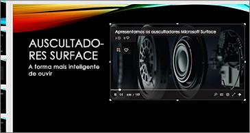 Diapositivo com um vídeo online