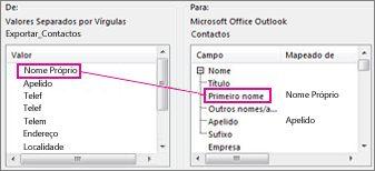 Mapear uma coluna do Excel para um campo de contacto do Outlook