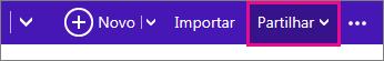 Outlook.com - clique em partilhar para selecionar um calendário