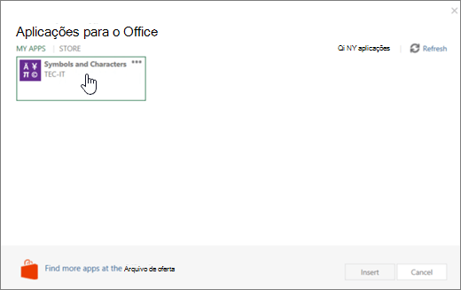 Captura de tela a mostrar o separador as minhas aplicações da página aplicações para o Office.