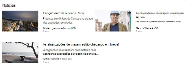 Screencap da parte web de Notícias de um site do SharePoint, onde as publicações foram filtradas