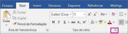 A seta que inicia a caixa de diálogo Tipo de Letra está realçada no separador Base