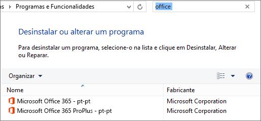 Mostra duas cópias do Office instaladas no Painel de Controlo