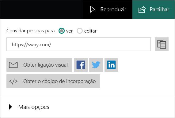 Menu do Sway a partir da sua Conta Microsoft