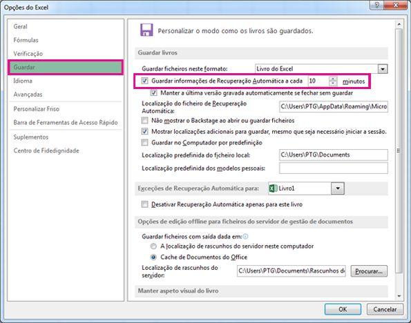 Opção Guardar nas Opções do Excel