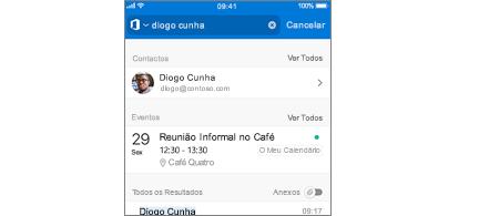 Calendário do Outlook para dispositivos móveis com reuniões em resultados de pesquisa