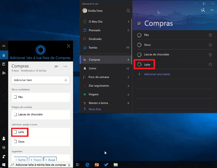 Captura de tela a mostrar a Cortana e o Microsoft to-do abertos no Windows 10. O leite foi adicionado à lista de compras com a Cortana e também está disponível na lista de compras no Microsoft to-do