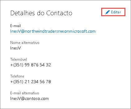 Utilize os detalhes de contacto para atualizar as informações de administrador