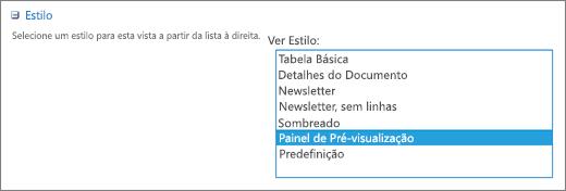 Opções de estilo na página Definições de Vista