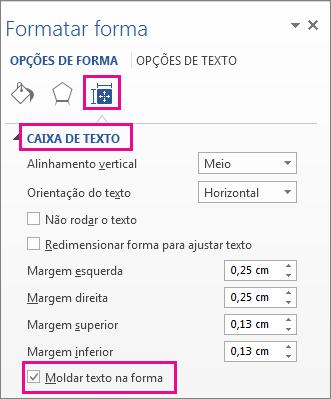 Caixa de verificação Moldar texto na forma