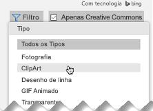 Abra o Filtro e, em Tipo, escolha Clip-art