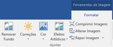 Botão Remover Fundo apresentado no separador Formatar das Ferramentas de Imagem no friso do Office 2016