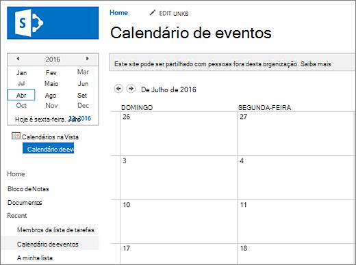 Exemplo de uma aplicação de lista do calendário.