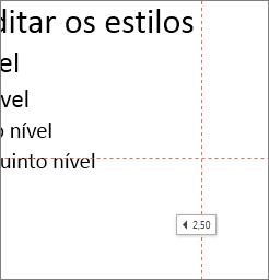 Uma etiqueta mostra a distância até ao centro do diapositivo