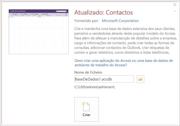 Captura de ecrã da interface da lista de Contactos