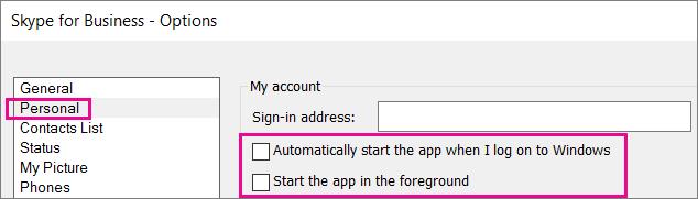 Selecione Pessoal e, em seguida, desmarque as opções para iniciar automaticamente.