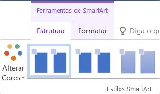 O botão Alterar Cores no separador Estrutura nas Ferramentas de SmartArt