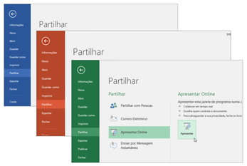 Colaborar com outras aplicações do Office 365