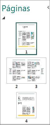 Painel de navegação nas páginas para uma ou duas páginas.