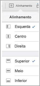 menu de alinhamento de texto do iPad
