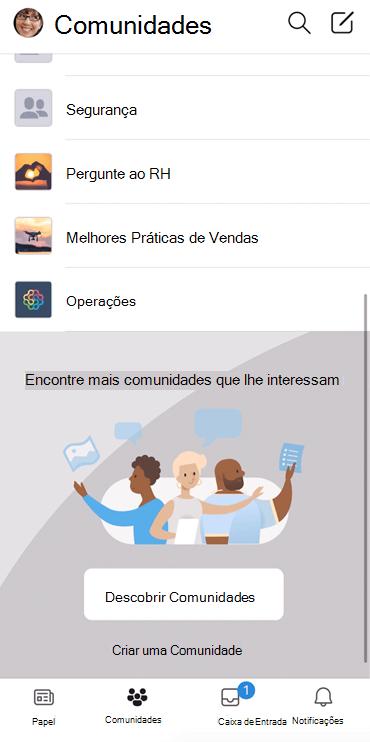 Screenshot mostrando a descoberta das comunidades Yammer em aplicativo móvel