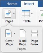 Opções no menu de páginas