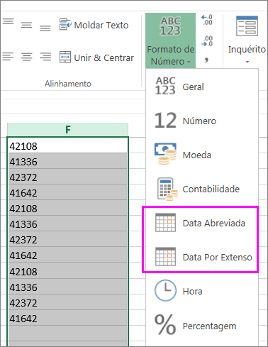 coluna de datas no formato de texto