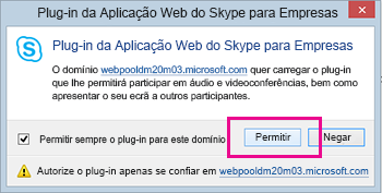 Confiar no domínio do Plug-in da Aplicação Web do Skype para Empresas