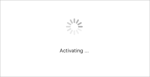 Aguarde enquanto o Office para Mac tenta ativar