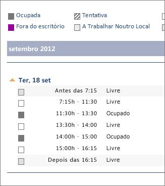 Exemplo de calendário partilhado por e-mail