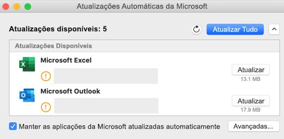 Imagem do dashboard das Atualizações Automáticas da Microsoft com informações sobre as atualizações.