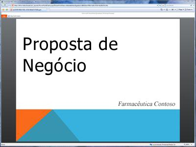 Uma apresentação de diapositivos difundida, como se vê no browser