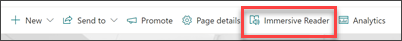 Captura de ecrã da barra de tarefas da leitura imersiva