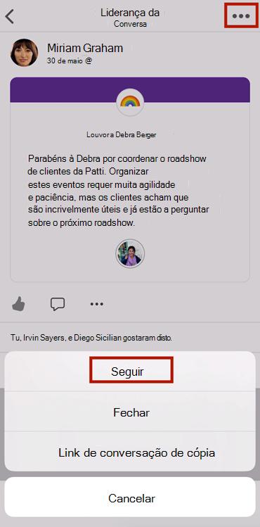 Screenshot mostrando após uma conversa em novo Yammer em aplicativo móvel