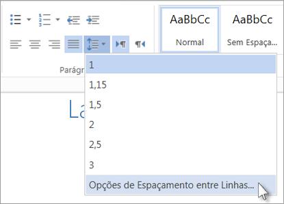 Menu de espaçamento entre linhas no Word Web App
