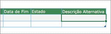 Captura de ecrã a mostrar a criação do diagrama de Visualização de Dados no Excel
