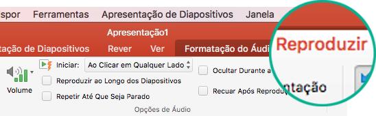 Quando um vídeo estiver selecionado num diapositivo, o separador Reproduzir é apresentado no friso da barra de ferramentas para definir opções de reprodução de vídeo.