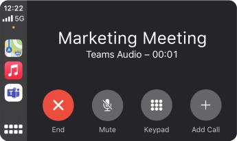 Imagem que mostra o aspas de uma reunião Teams utilizando o Apple CarPlay.