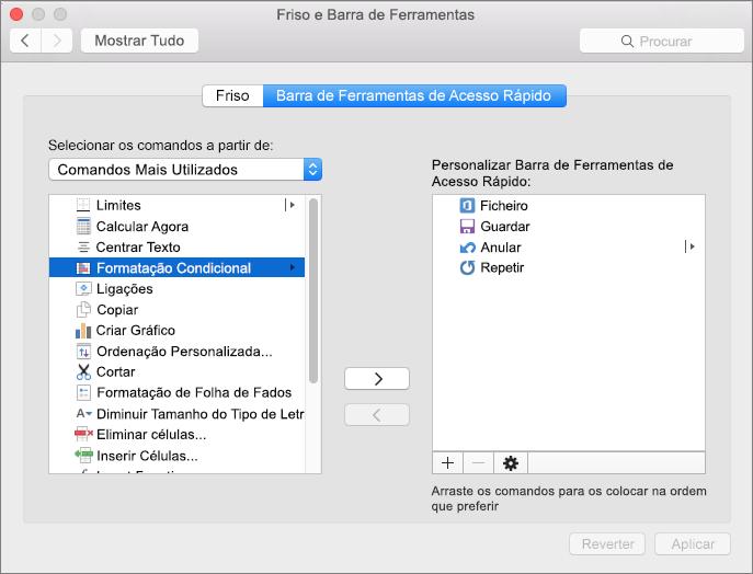 Personalizar a Barra de Ferramentas de Acesso Rápido no Office 2016 para Mac