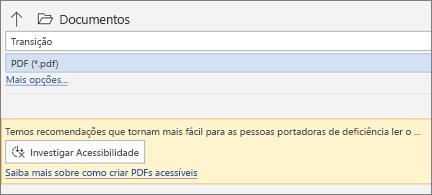 Caixa de diálogo guardar como PDF com uma mensagem amarela a convidar o utilizador para verificar a acessibilidade do respetivo PDF antes de guardar