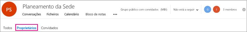 Cabeçalho de grupos com a ligação proprietários realçada