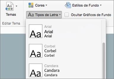 No separador modelo global de diapositivos, clique em tipos de letra