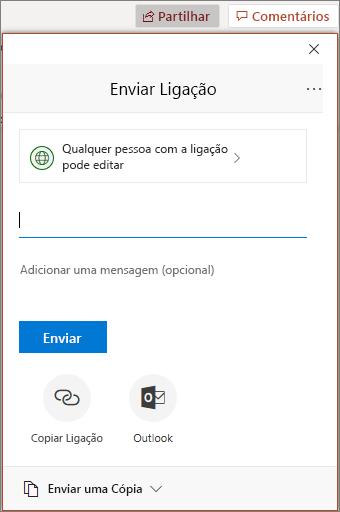 Caixa de diálogo e ícone Partilhar no PowerPoint