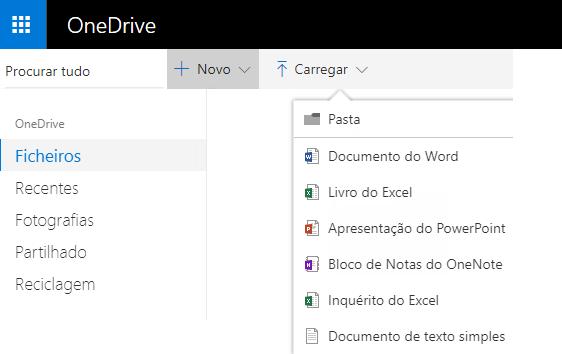Captura de ecrã da criação de um documento no OneDrive.com