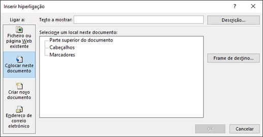 Criar uma ligação a uma localização no documento atual