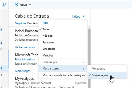 Captura de ecrã da Caixa de Entrada, a mostrar a opção Filtrar > Mostrar Como > Conversações selecionada.