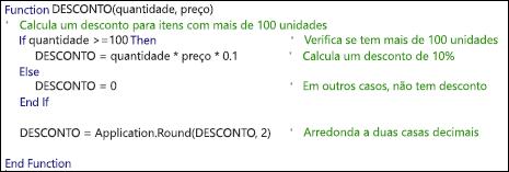 Exemplo de uma função VBA com comentários